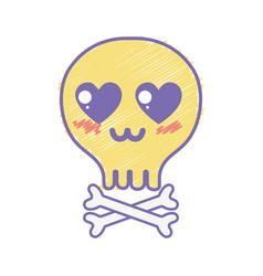 Kawaii cute tender skull with bones vector