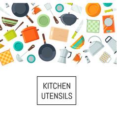 Kitchen utensils flat icons vector