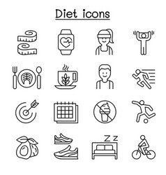 Losing weight diet exercise icon set in thin line vector