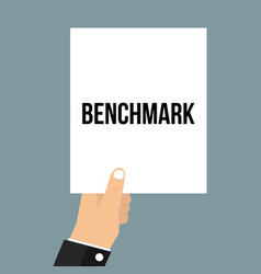 Man showing paper benchmark text vector