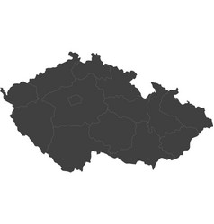 Map of czech republic split into regions vector