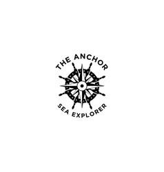 Marine retro emblems logo with anchor rope ship vector