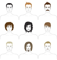 men faces set vector image