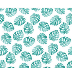 monstera blue pattern vector image