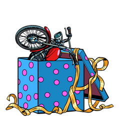 motorcycle bike in a gift box vector image