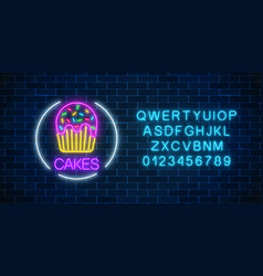 neon glowing sign of cake with glaze in circle vector image