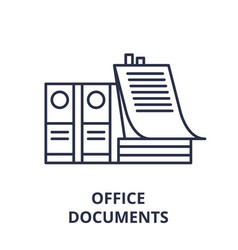 office documents line icon concept office vector image