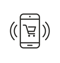 phone icon with shopping cart vector image