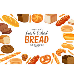 Poster template with bread products vector