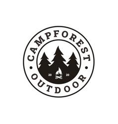 Printfir pines evergreen tree bonfire camp vector