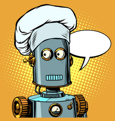 Robot cook food takes orders at restaurant vector