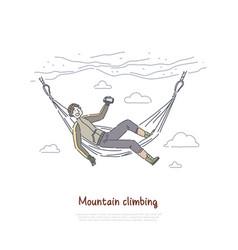 Rock climbing mountaineering climber resting vector