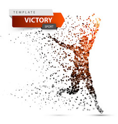 run winner man image consisting of dots vector image