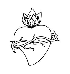 Sacred heart crown flame outline vector