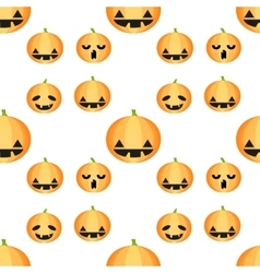 Seamless Halloween pattern with pumpkins vector