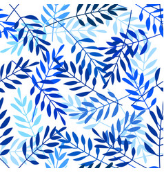 Seamless pattern with indigo blue leaves vector