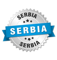 Serbia round silver badge with blue ribbon vector