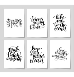 Set of 6 hand written lettering positive vector