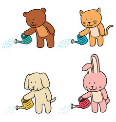 Set of animal watering by watering can vector