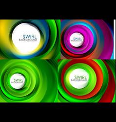 set of spiral background geometric swirl vector image