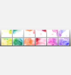 set rainbow watercolor background vector image