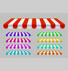 Set striped sunshade template outdoor awnings vector