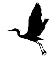 Silhouette of heron vector