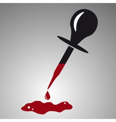 Simple black dropper with red blood drop eps10 vector