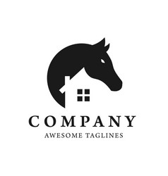 simple horse and house logo design vector image