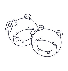 Sketch silhouette caricature faces of hippo couple vector