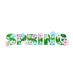 spring inscription with white green flowers vector image
