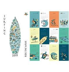 Surf school calendar 2019 design vector