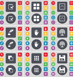 Survey Apps Arrow up Inkpot Hand Wi-Fi Copy Floppy vector