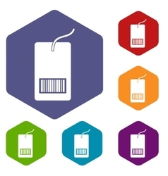Tag with bar code icons set vector image