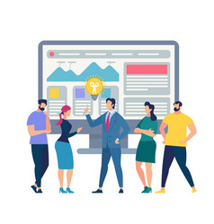 Teamwork in office coaching skills improvement vector