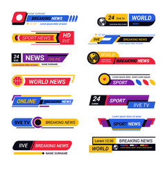 Tv live report headers breaking news titles vector