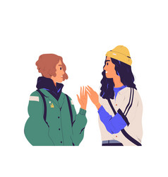 Two trendy young women meeting and greeting each vector