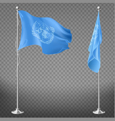 United nations organization flag on flagpole vector