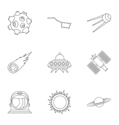 Universe icons set outline style vector