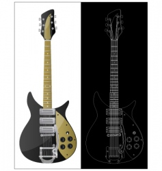 vintage guitars vector image