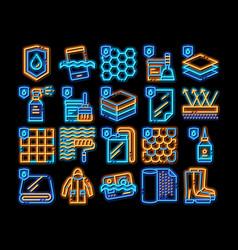 Waterproof materials neon glow icon vector