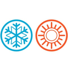 Weather icons with sun and snowflake vector