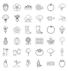 wheelbarrow icons set outline style vector image