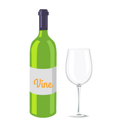 wine glass and bottle isolated on white backdrop vector image