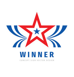 Winner success - abstract logo design vector