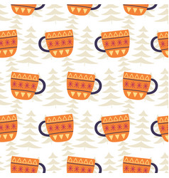 winter tea cups decoration seamless pattern vector image
