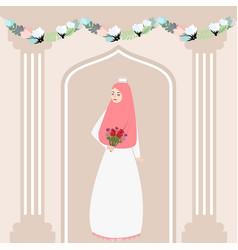 Woman girl muslim bride holding flower wearing vector