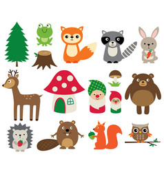 Woodland animals isolated set vector