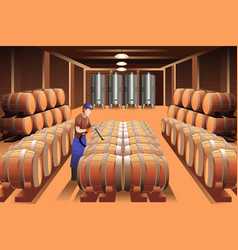 Worker in a winery vector
