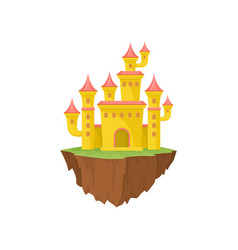 yellow island castle on white background magic vector image